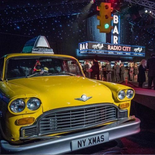 Yellow cabs at our New York New York party at Tatton Park